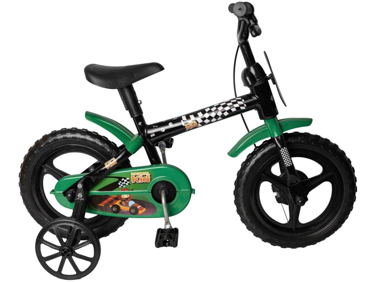 Bicicleta Infantil Aro 12 Styll Kids Radical Kid - Verde e Preto