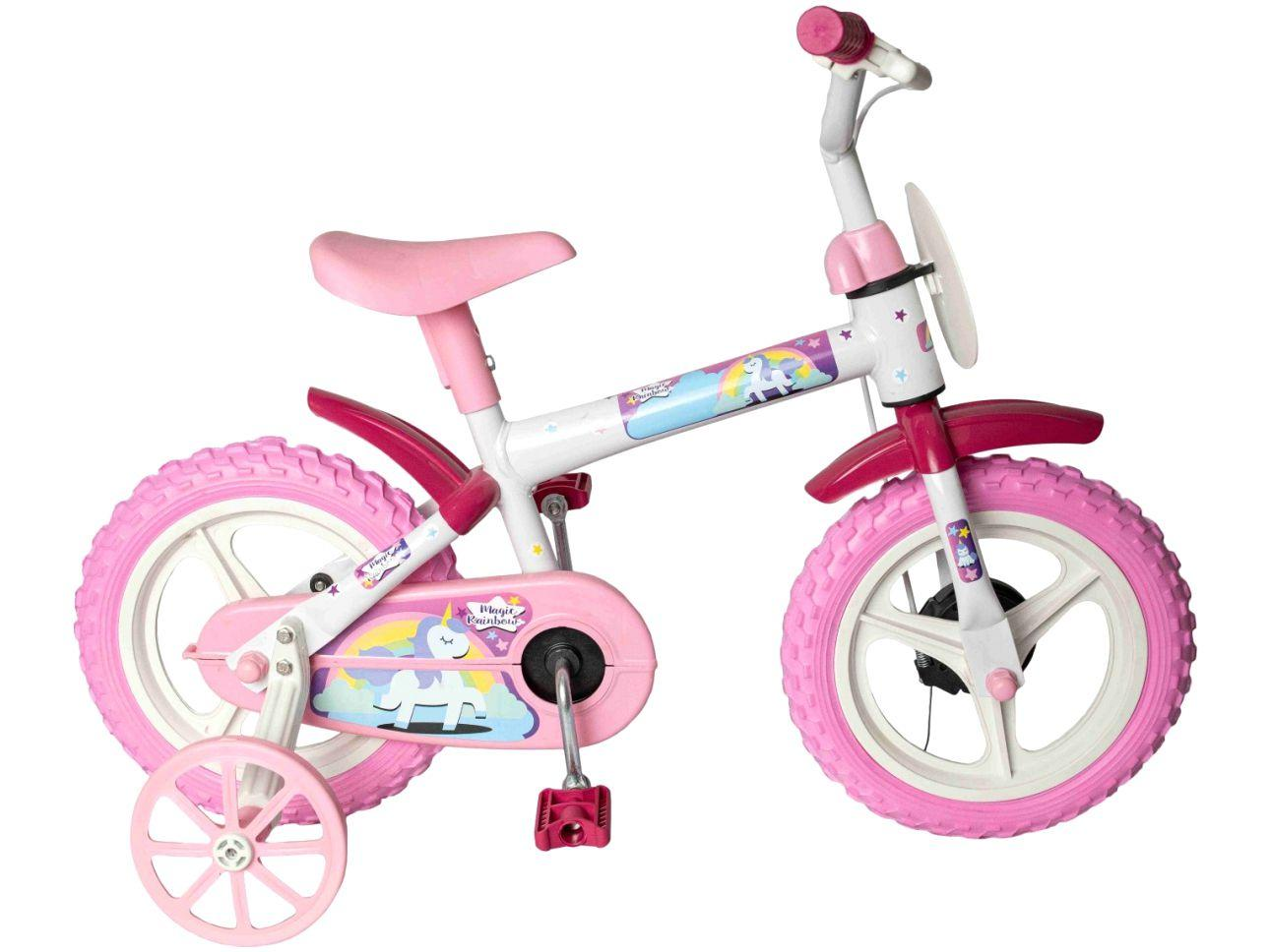 Bicicleta Infantil Aro 12 Styll Kids Magic Rainbow - Rosa e Branco