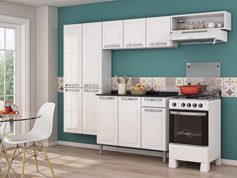 Cozinha Compacta Itatiaia Rose 7 Portas Aço e - Balcão com Tampo 3 Portas 1 Gaveta