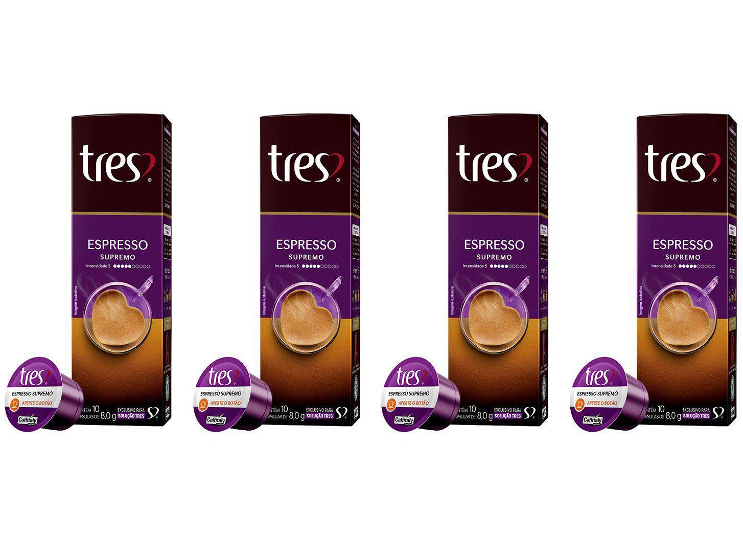 Cápsula de Café Espresso 3 Corações Supremo TRES - 40 Unidades
