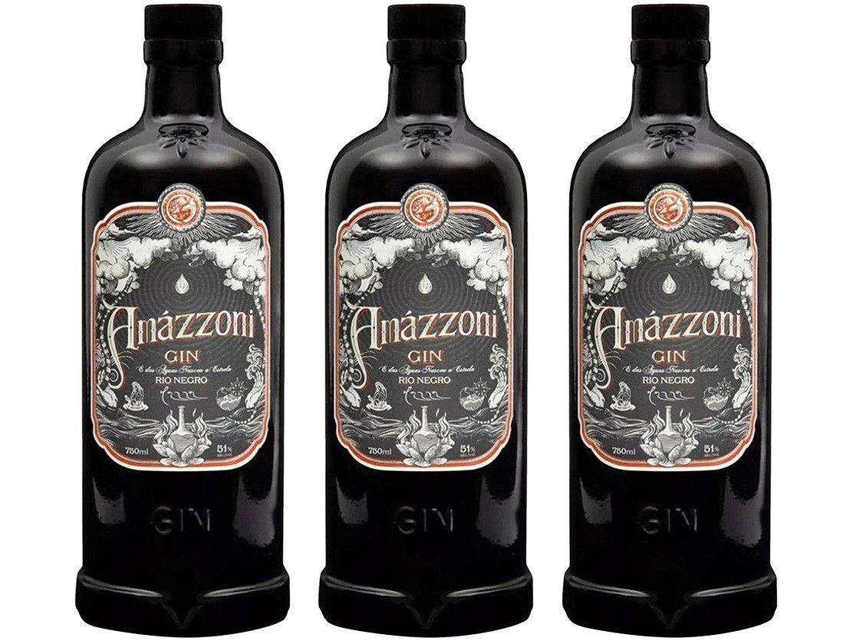 Gin Amázzoni Rio Negro 750ml 3 Unidades