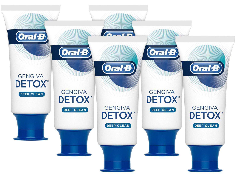 Kit com 6 Unidades Creme Dental com Flúor Oral-B - Gengiva Detox Deep Clean 102g Cada