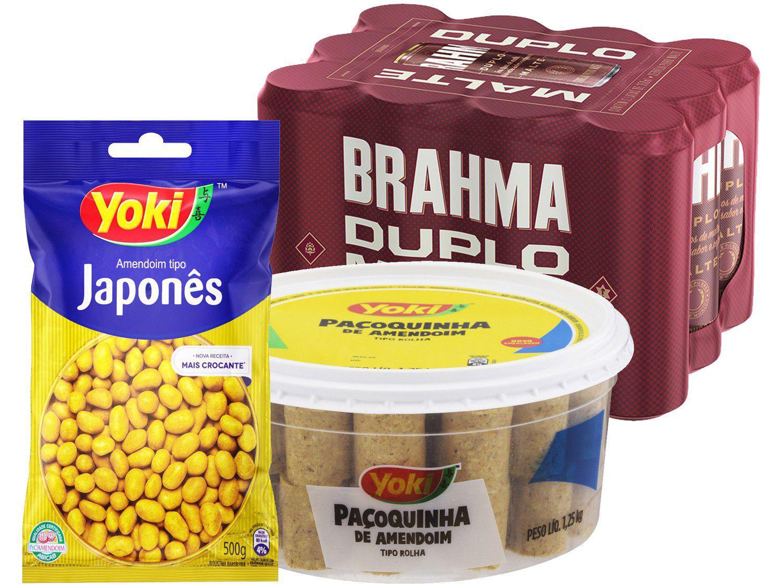 Cerveja Brahma Duplo Malte 350ml 12 Unidades com - Paçoca Rolha Yoki 1,25kg + Amendoim 500g