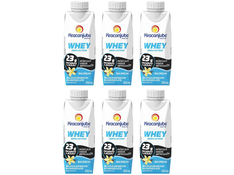 Kit Bebida Láctea Piracanjuba Whey Baunilha - Zero Lactose 250ml 6 Unidades