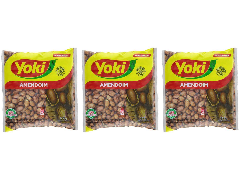 Kit Amendoim Descascado Original Yoki 500g - 3 Unidades