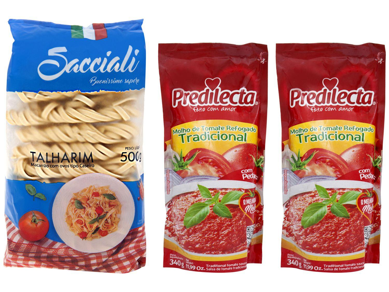 Kit 02 Molho de Tomate Predilecta Tradicional - 340g + Macarrão Talharim com Ovos Sacciali Caseiro