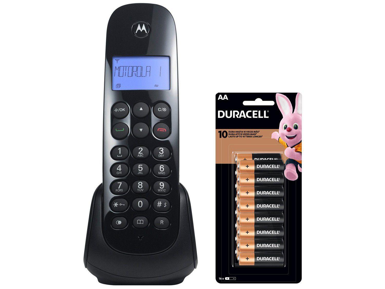 Telefone Sem Fio Motorola MOTO700 Identificador de - Chamada Preto + Pilha AA Pequena Alcalina 16 Uni
