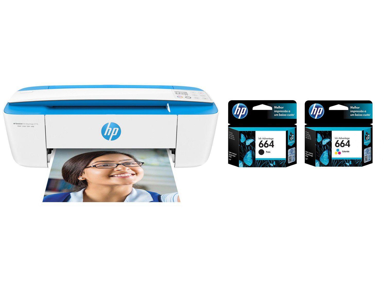 Impressora Multifuncional HP DeskJet Ink 3776 - Jato de Tinta Colorida Wi-Fi + 02 Cartuchos