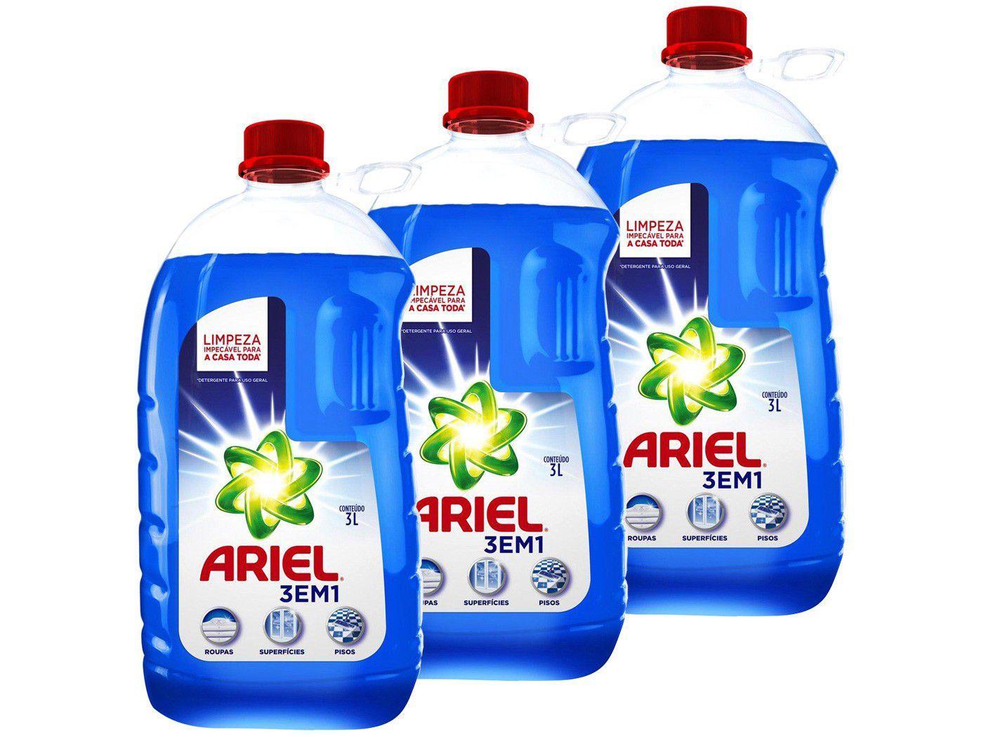 Kit Detergente Líquido Multiuso Ariel 3 em 1 3L - 3 Unidades