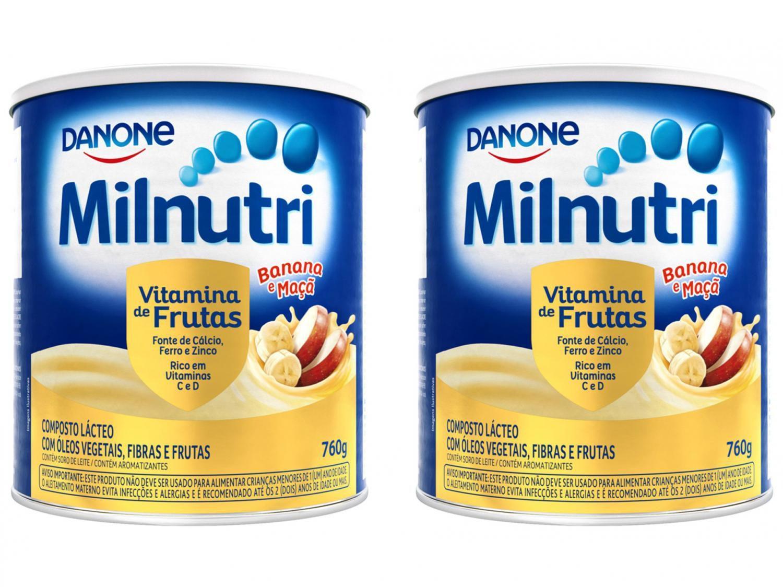 Composto Lácteo Milnutri Banana e Maçã - Vitamina de Frutas 760g 2 Unidades