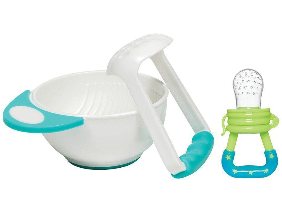 Kit Amassador de Papinha + Alimentador para Bebê - Porta-frutinha Buba Azul