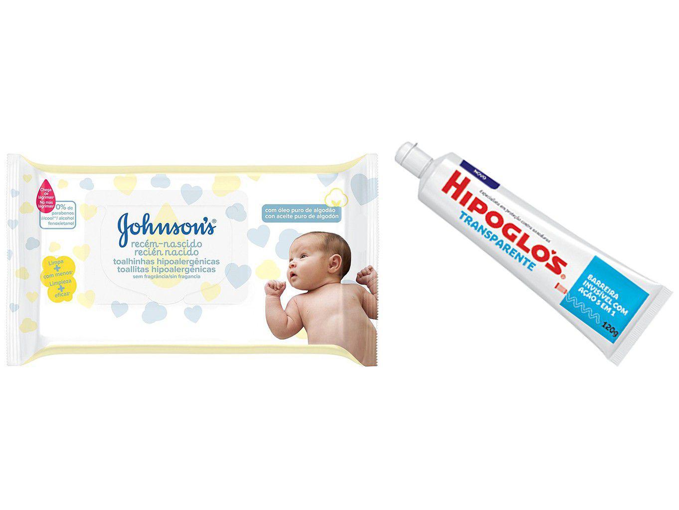 Creme Preventivo para Assadura Hipoglós - 120g + Lenço Umedecido Johnsons Baby 48 Unidades