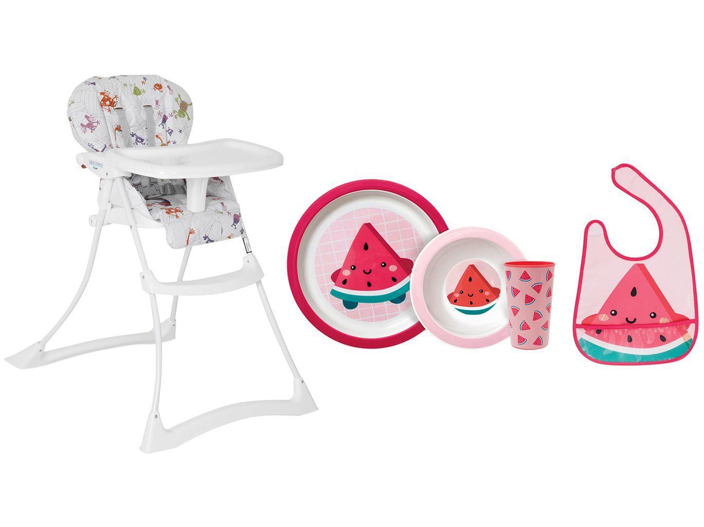 Cadeira de Alimentação Burigotto Papa & Soneca - Reclinável + Kit Alimentação 3 Peças + Babador