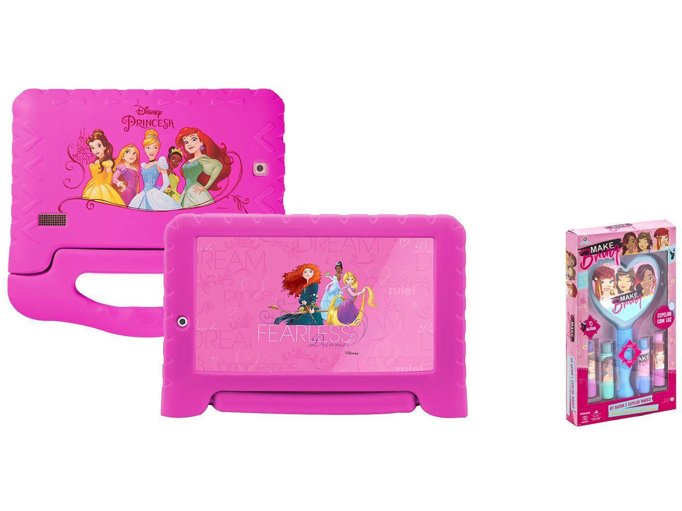 "Tablet Infantil Multilaser Princesas Plus com Capa - 7"" Wi-Fi 16GB Android 8.1Quad-Core + Kit Maqu"