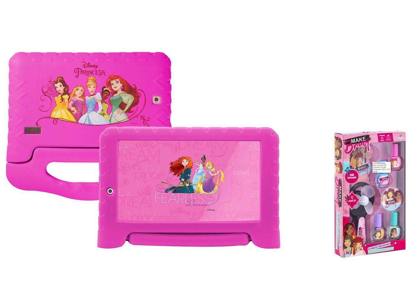 "Tablet Infantil Multilaser Princesas Plus com Capa - 7"" Wi-Fi 16GB + Conjunto para Pintura de Unha"