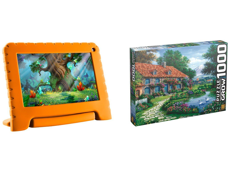 "Tablet Infantil Multilaser Kid Pad Go com Capa - 16GB 7""Wi-Fi Android 8.1 Quad-Core + Quebra-cabeça"