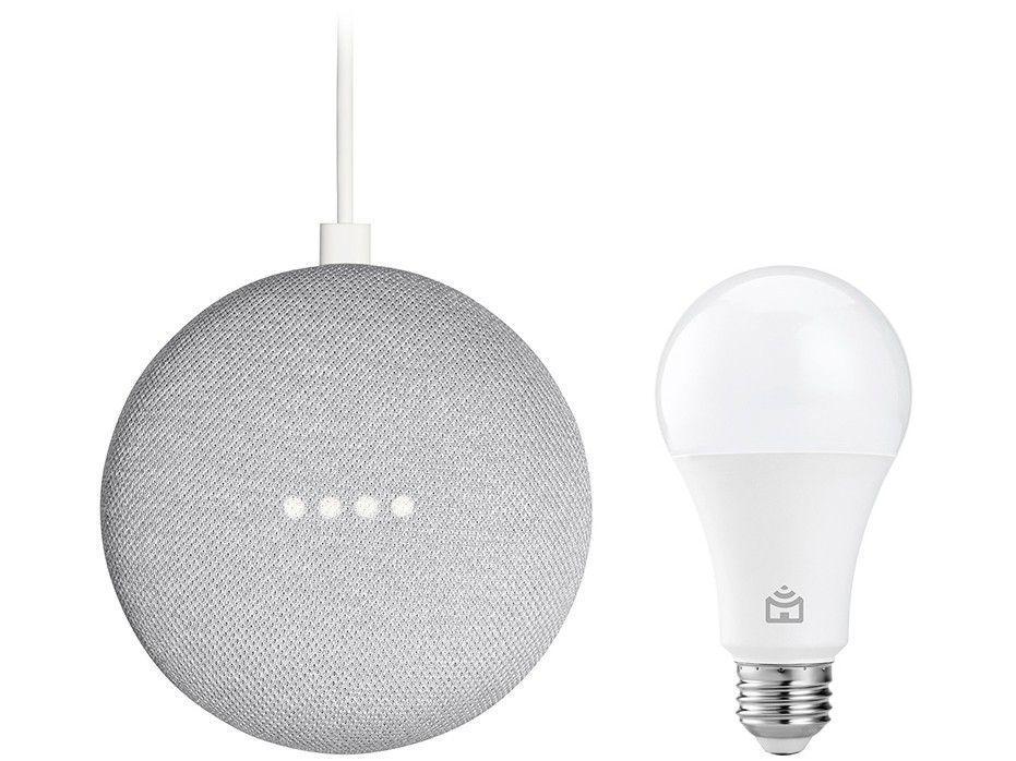 Nest Mini 2ª geração Smart Speaker com Google - Assistente Cor Giz + Lâmpada Inteligente Positivo