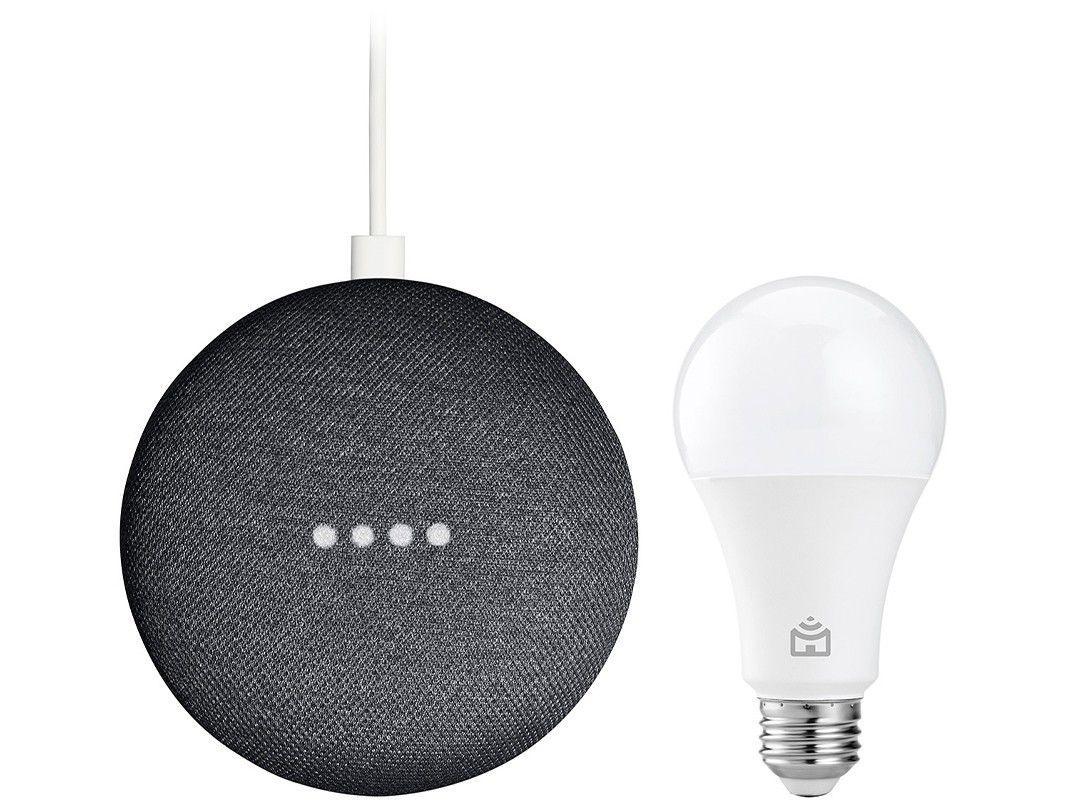 Nest Mini 2ª geração Smart Speaker com Google - Assistente Carvão + Lâmpada Inteligente Positivo