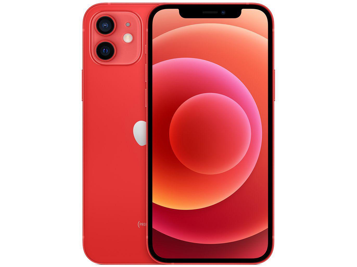 "iPhone 12 Apple 64GB (PRODUCT)RED 6,1"" - Câm. Dupla 12MP iOS + Carregador USB-C Original"