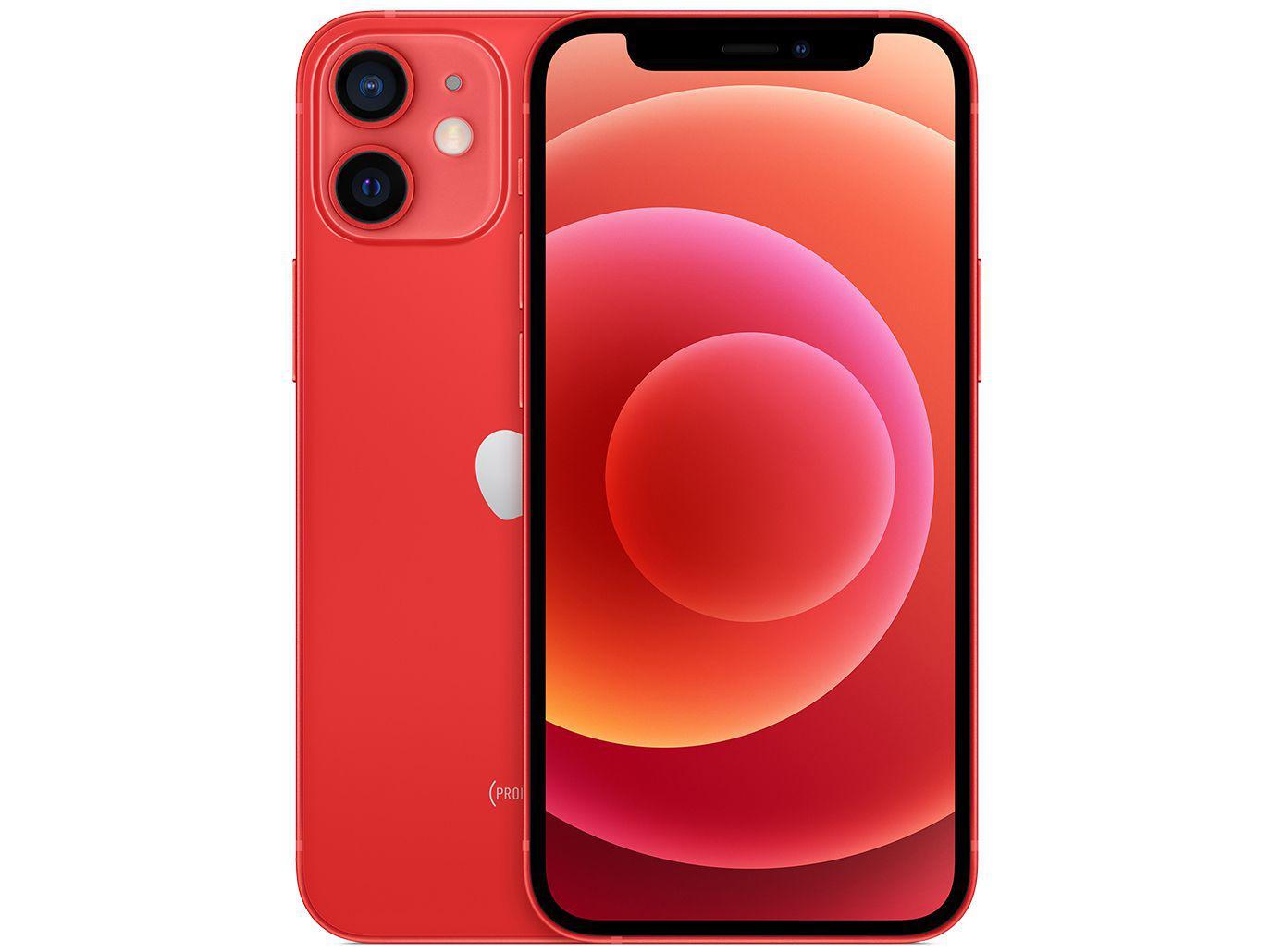 "iPhone 12 Mini Apple 128GB (PRODUCT)RED 5,4"" - Câm. Dupla 12MP iOS + Carregador USB-C Original"