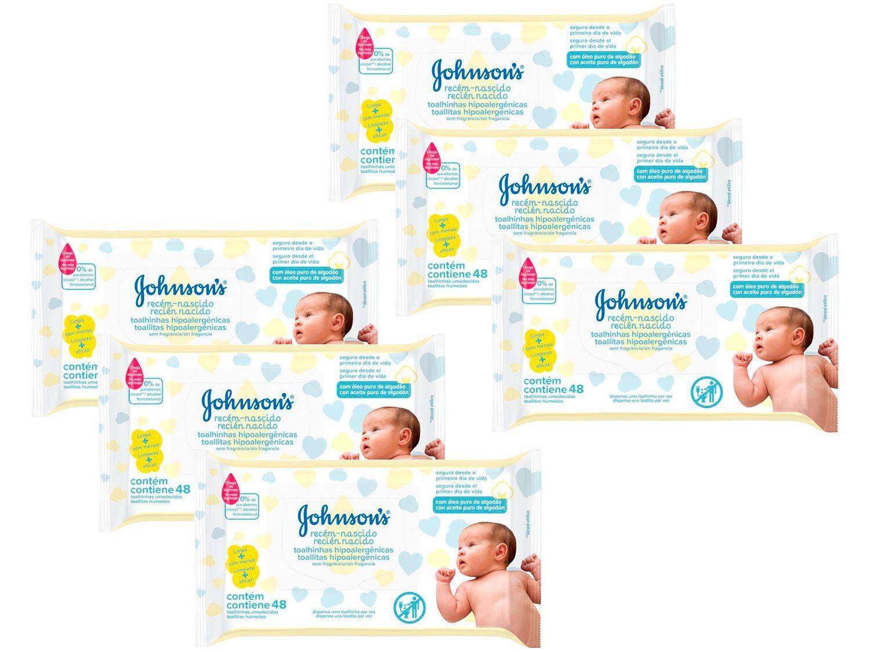 Kit Lenço Umedecido Johnsons Baby Recém-Nascido - Sem Fragrância 6 Pacotes com 48 Unidades Cada