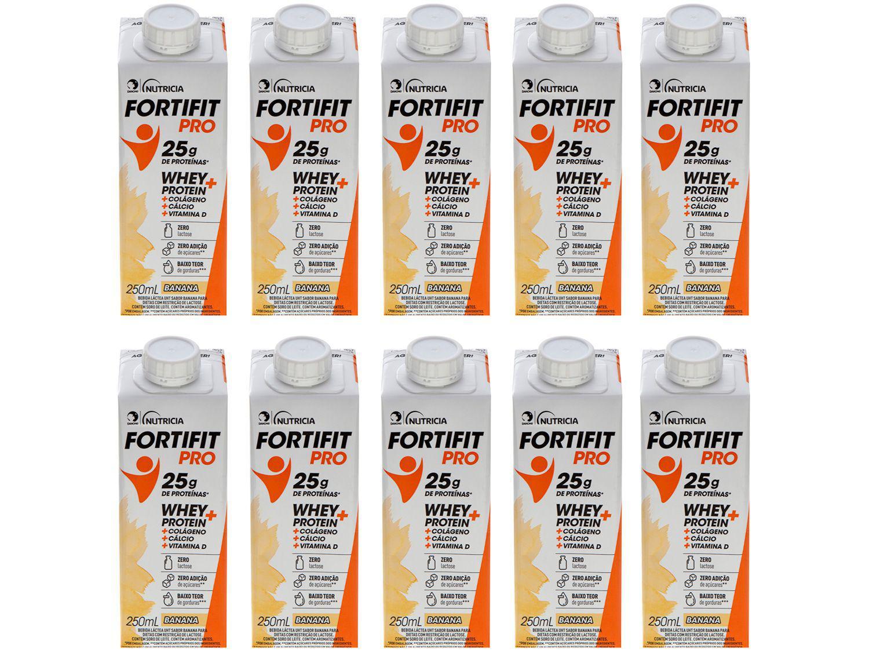 Bebida Láctea Fortifit Pro Banana Zero Açúcar - 250ml 10 Unidades