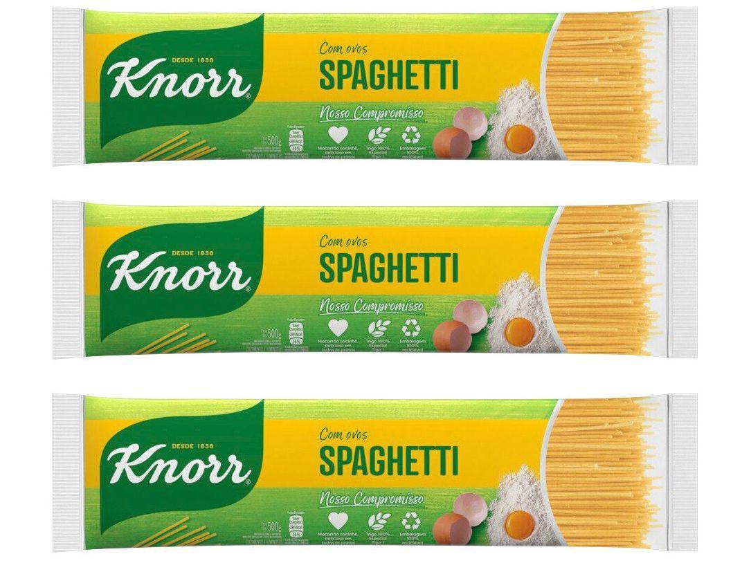 Kit Macarrão Espaguete Sêmola com Ovos Knorr Seco - Spaghetti 500g 3 Unidades