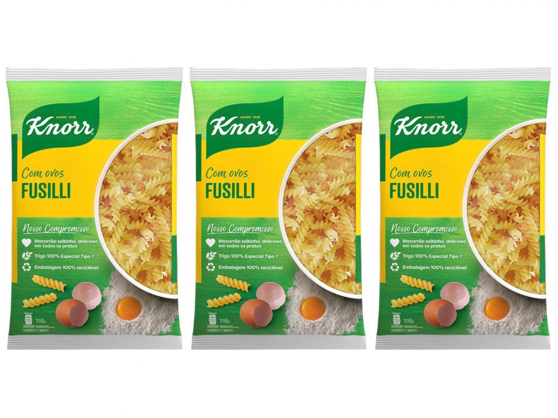 Kit Macarrão Parafuso Sêmola com Ovos Knorr Seco - Fusilli 500g 3 Unidades