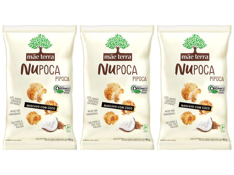 Kit Pipoca Doce Mascavo com Coco Orgânica - Mãe Terra NuPoca 3 Unidades 40g