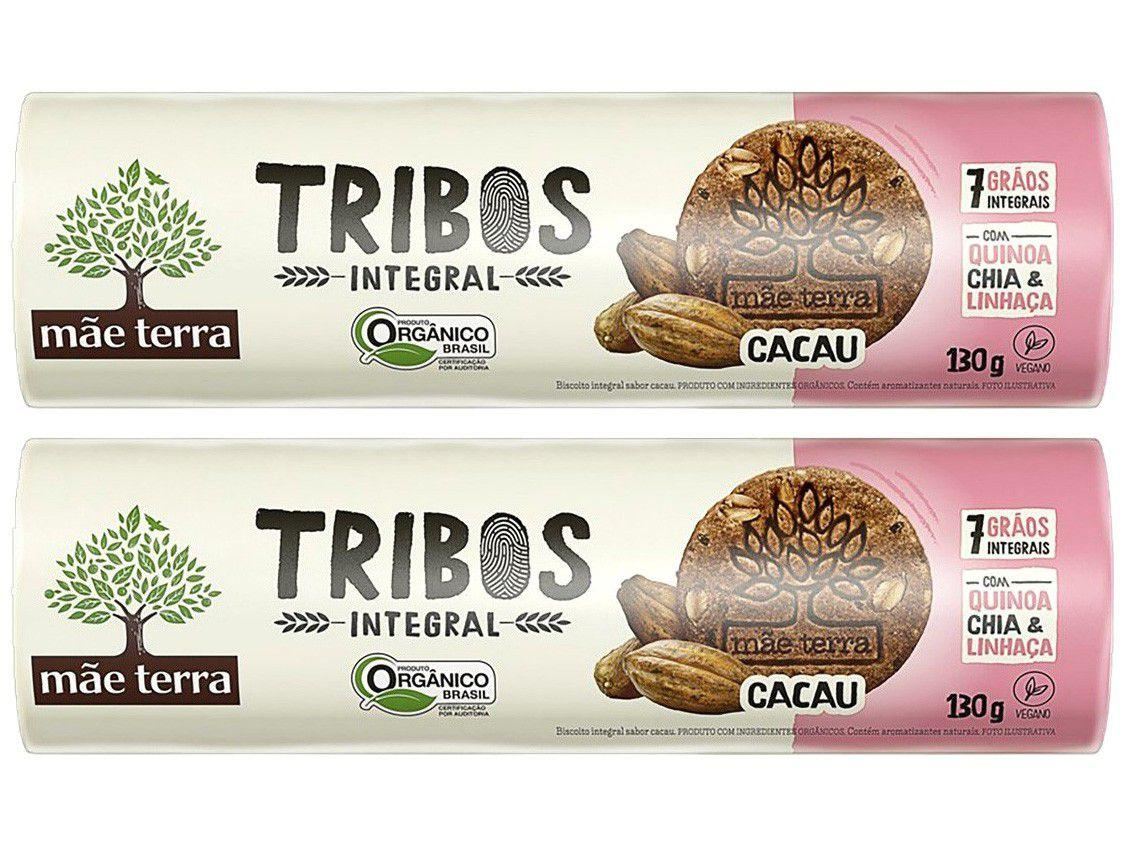 Kit Biscoito Cacau Integral Vegano Tribos - Mãe Terra 2 Unidades 130g Cada