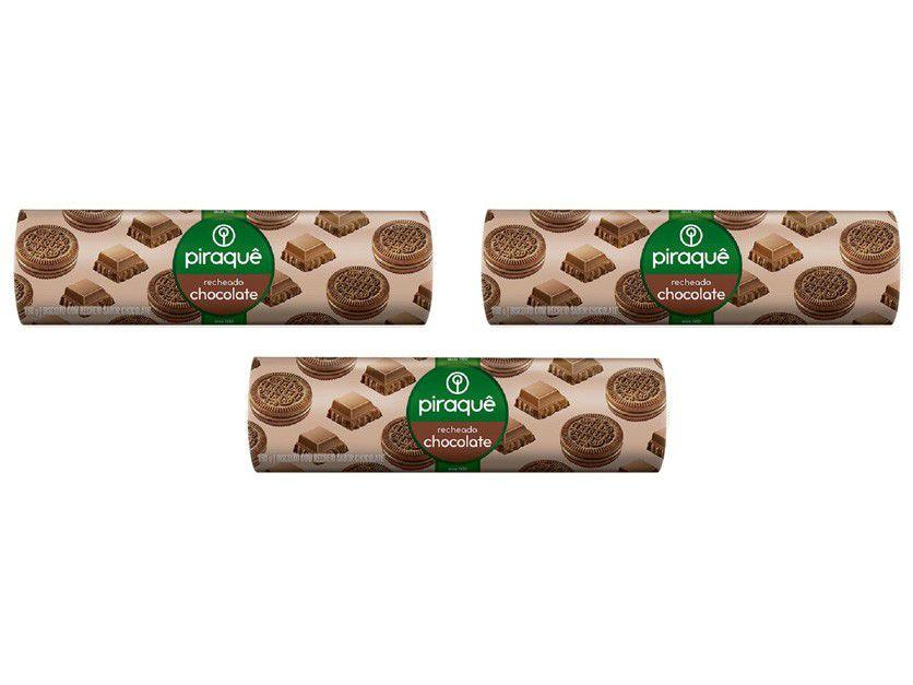 Kit Biscoito Recheado Chocolate Piraquê - 3 Unidades 160g Cada