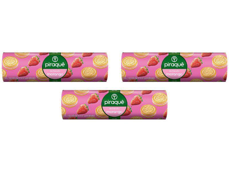 Kit Biscoito Recheado Morango Piraquê - 3 Unidades 160g Cada