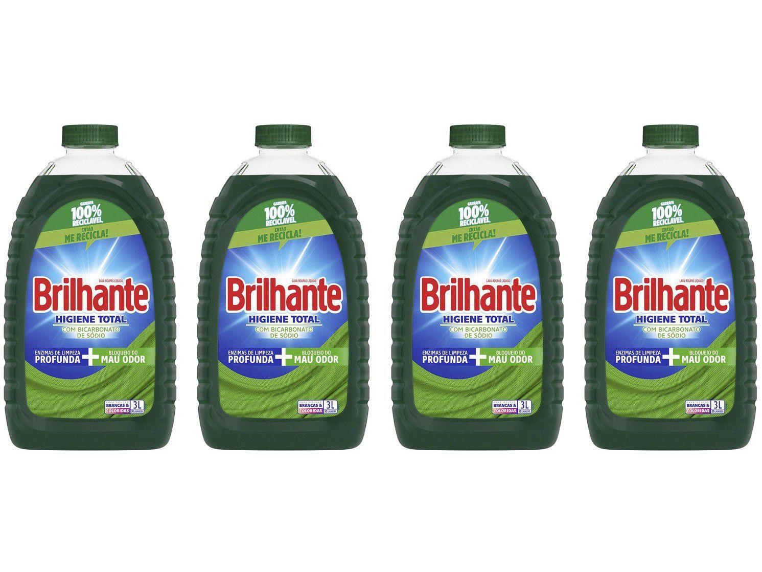 Kit Sabão Líquido Brilhante Higiene Total - 4 Unidades 3L Cada