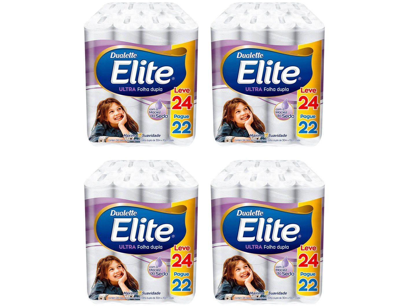 Kit Papel Higiênico Folha Dupla Elite Ultra - 4 Pacotes com 24 Unidades Cada