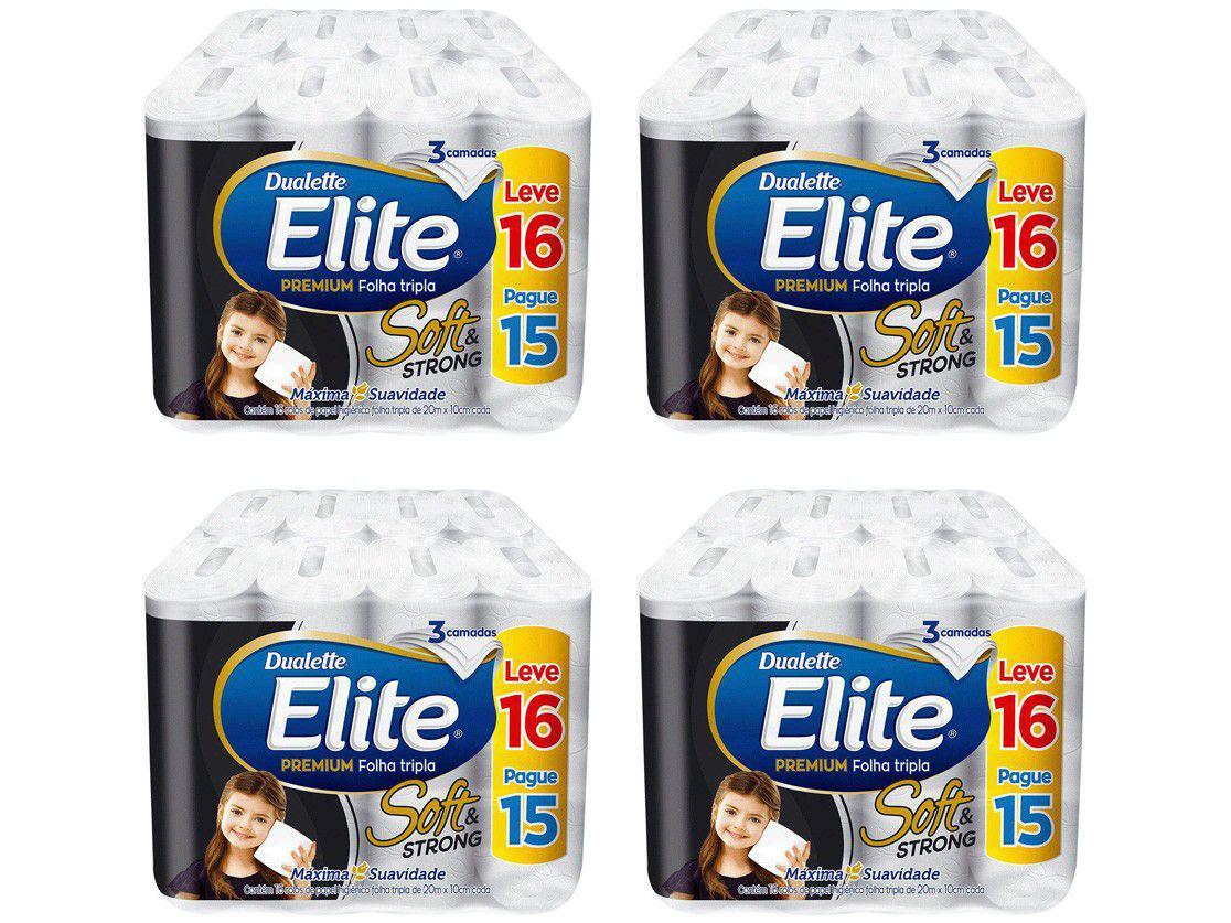 Kit Papel Higiênico Folha Tripla Elite - Soft & Strong 4 Pacotes com 16 Unidades Cada