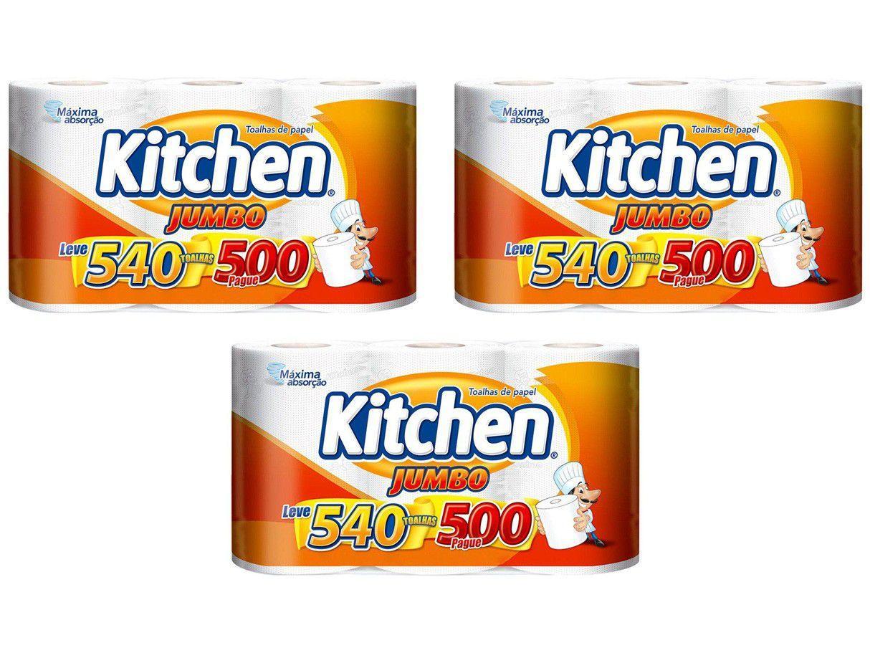 Kit Papel Toalha Folha Dupla Kitchen Jumbo - 3 Pacotes com 3 Unidades Cada