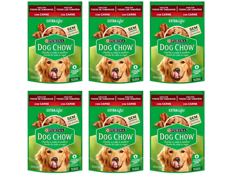Kit Ração Úmida para Cachorro Adulto Sachê - Dog Chow ExtraLife Carne 6 Unidades 100g Cada
