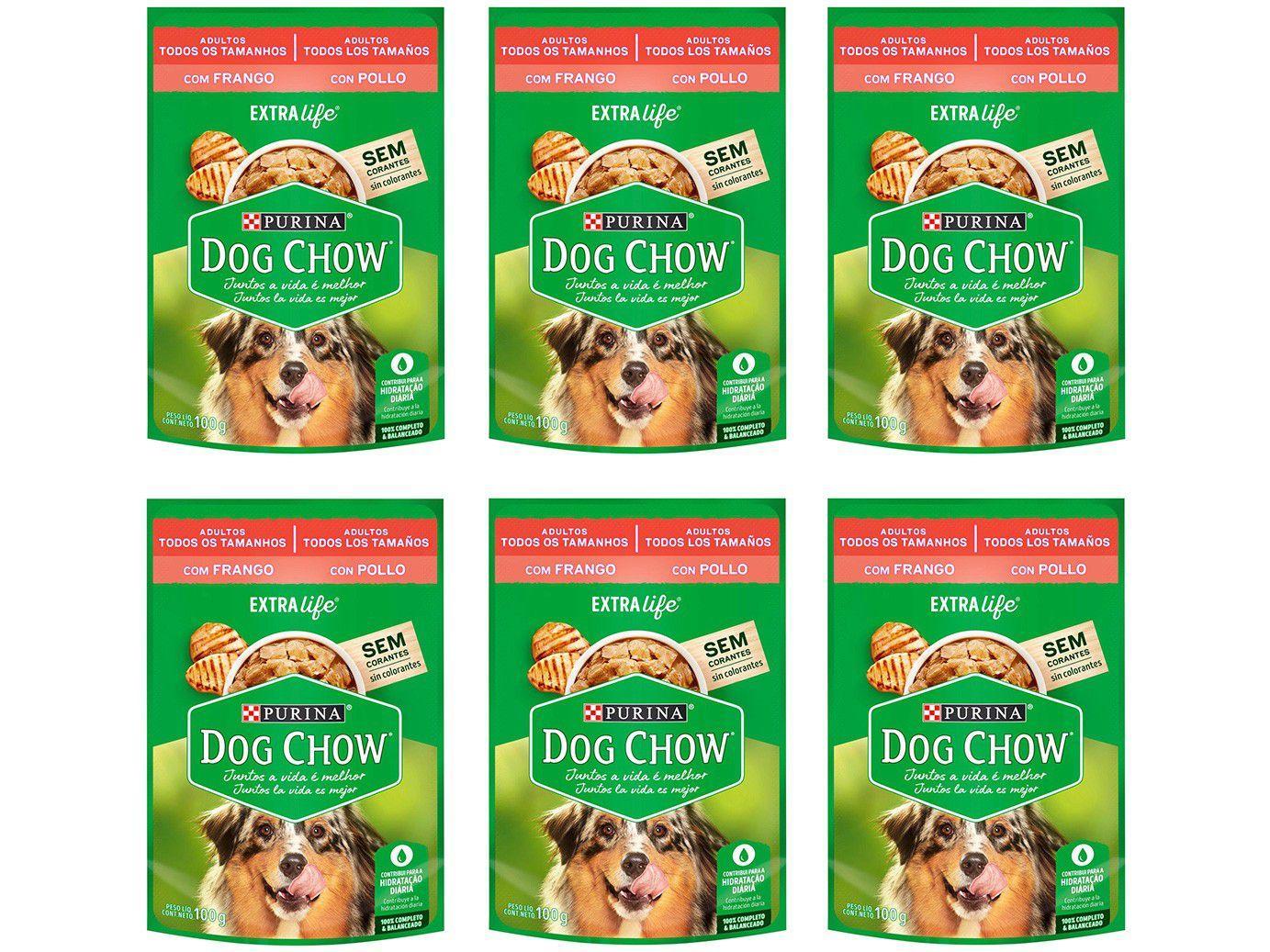 Kit Ração Úmida para Cachorro Adulto Sachê - Dog Chow ExtraLife Frango 6 Unidades 100g Cada