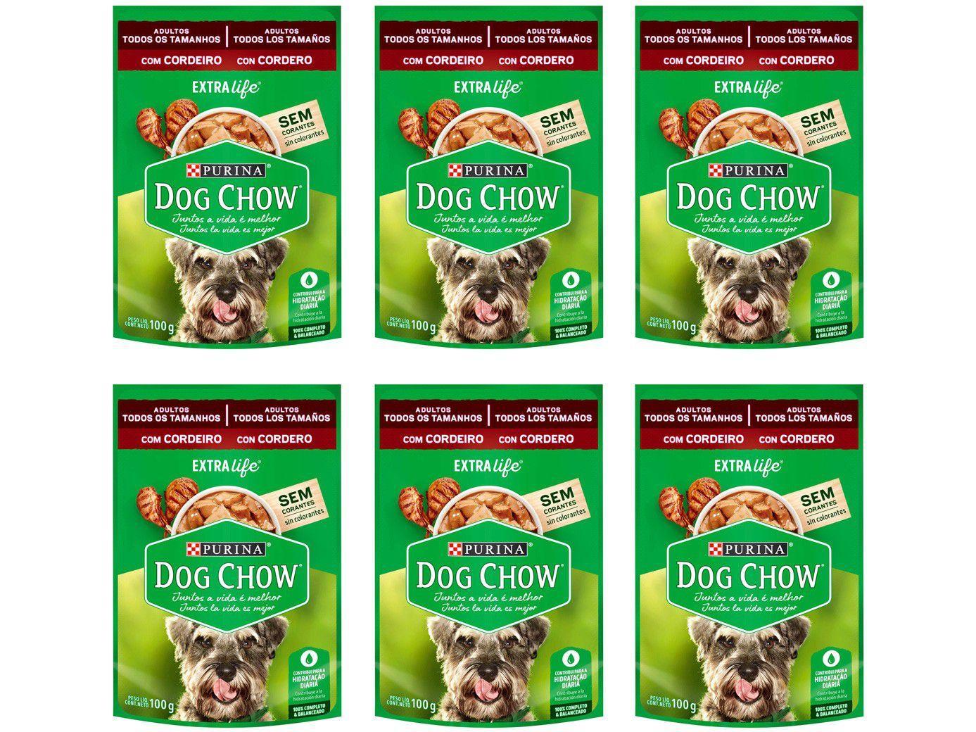 Kit Ração Úmida para Cachorro Adulto Sachê - Dog Chow ExtraLife Cordeiro 6 Unidades 100g Cada