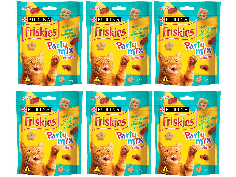 Kit Petisco para Gato Adulto Friskies Party Mix - Camarão Salmão e Atum 6 Unidades 40g Cada