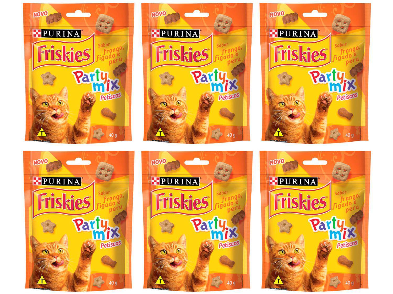 Kit Petisco para Gato Adulto Friskies Party Mix - Frango Fígado e Peru 6 Unidades 40g Cada
