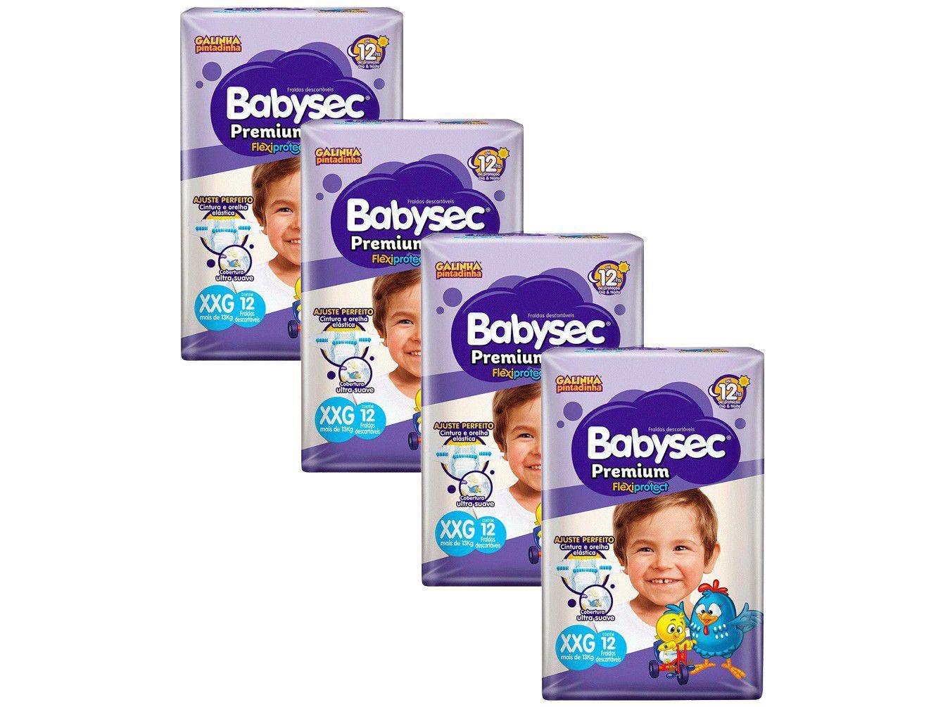 Kit Fraldas Babysec Premium Galinha Pintadinha - Tam. XXG Acima de 13kg 4 Pacotes com 12 Unid. Cada