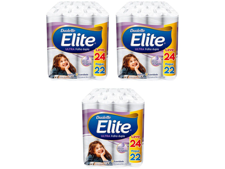 Kit Papel Higiênico Folha Dupla Elite Ultra - 3 Pacotes com 24 Rolos de 30m Cada