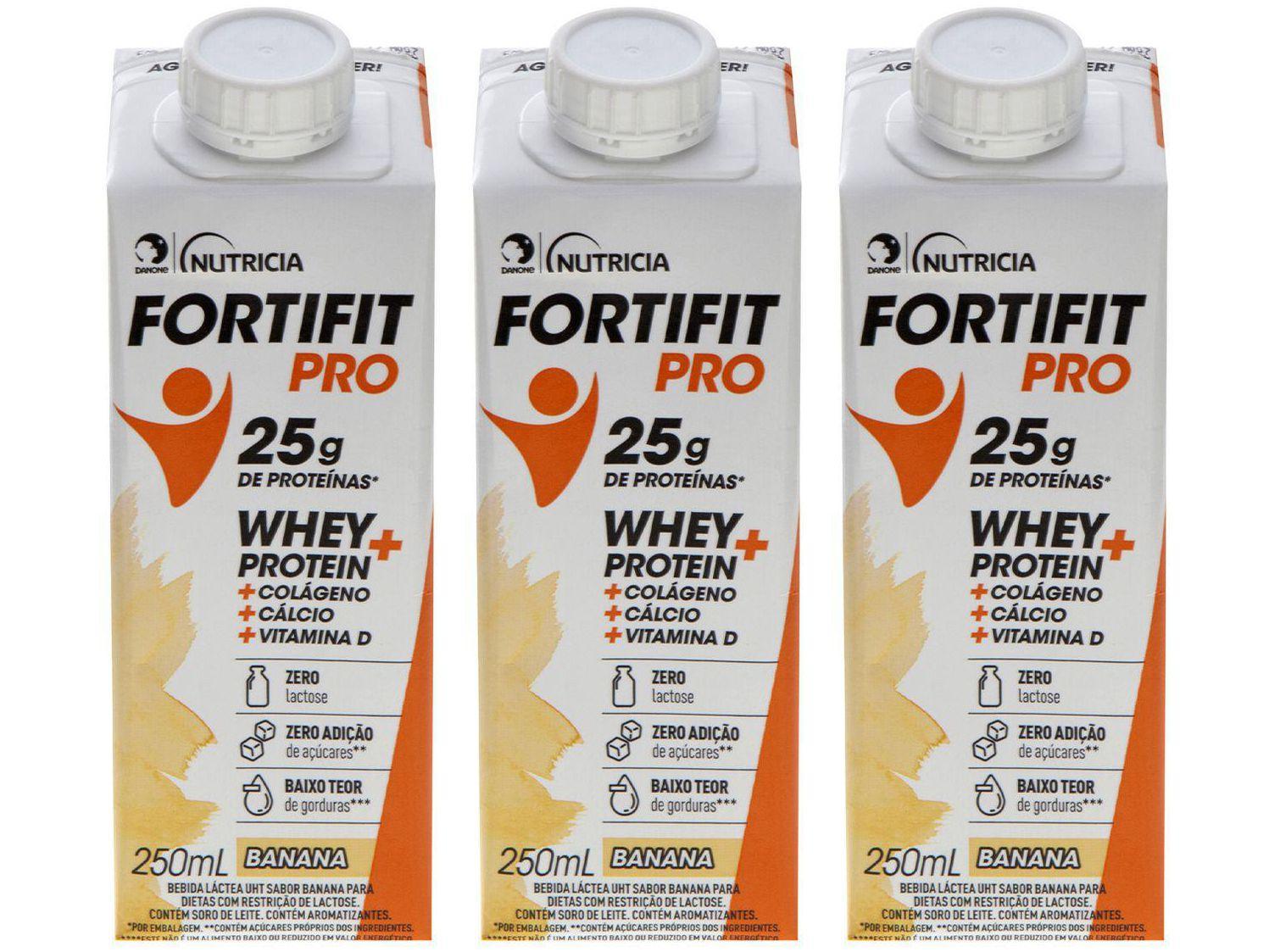 Kit Bebida Láctea Fortifit Pro Banana Zero Açúcar - 250ml 3 Unidades