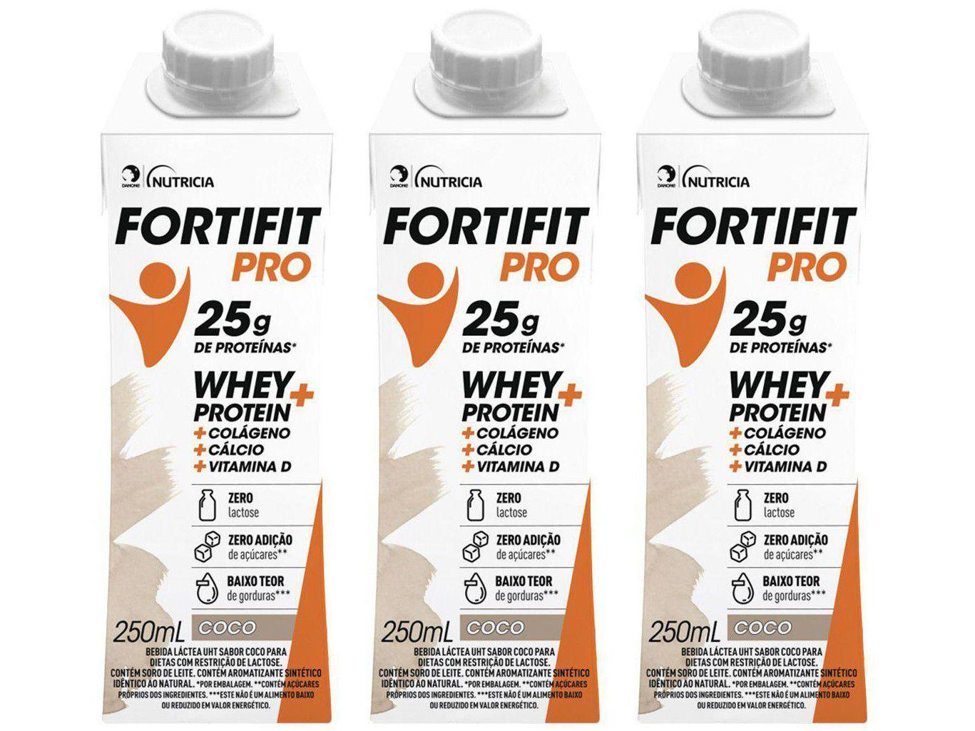 Kit Bebida Láctea Fortifit Pro Coco Zero Açúcar - 250ml 3 Unidades
