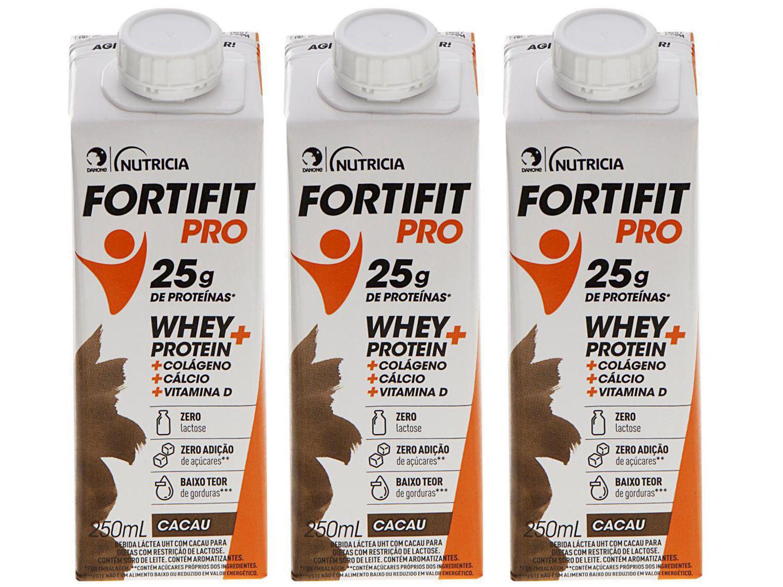 Kit Bebida Láctea Fortifit Pro Cacau Zero Açúcar - 250ml 3 Unidades