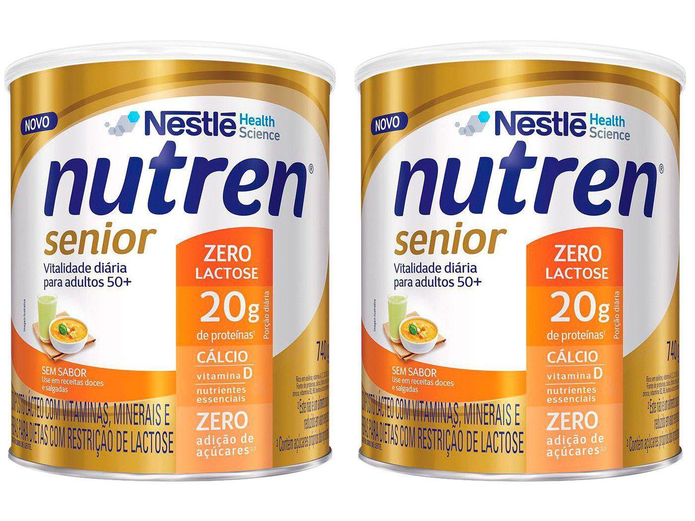Kit Suplemento Alimentar Adulto Nutren Senior - Sem Sabor Zero Açúcar sem Lactose 740g 2 Unidades