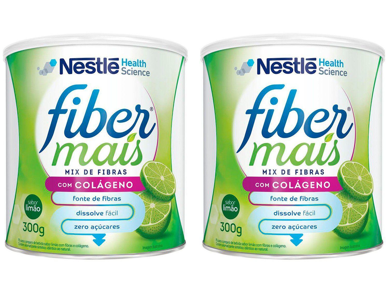 Kit Complemento Alimentar Adulto Fiber Mais Limão - com Colágeno sem Açúcar 300g 2 Unidades