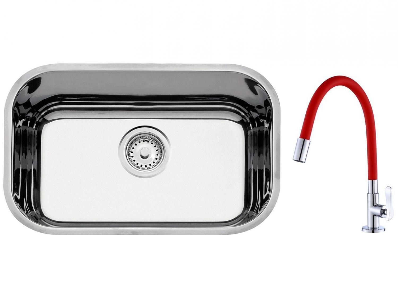 Cuba de Embutir para Cozinha Tramontina Inox - Retangular 47x30cm + Torneira Gourmet para Cozinha