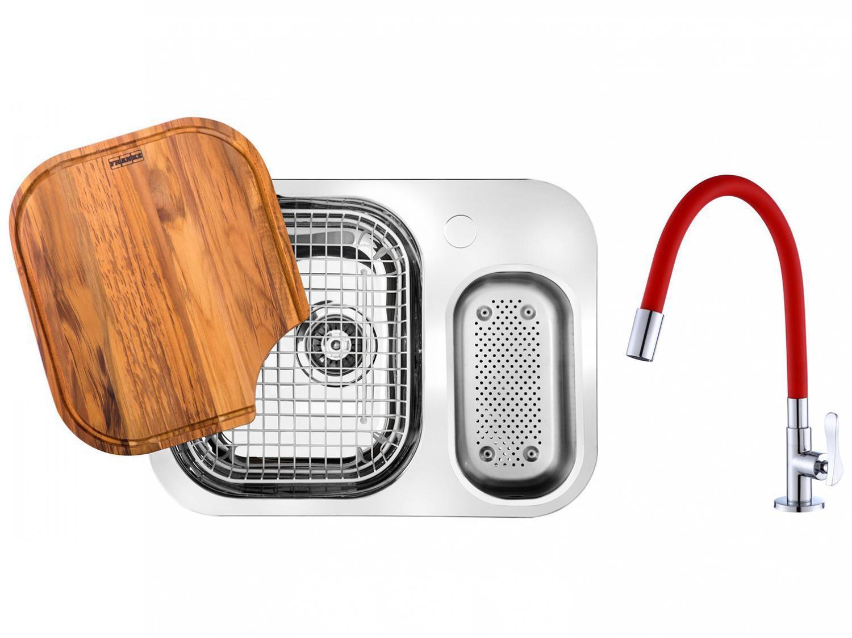 Cuba para Cozinha Franke Dupla Aço Inox de Embutir - Retangular 62,5x50cm + Torneira Gourmet